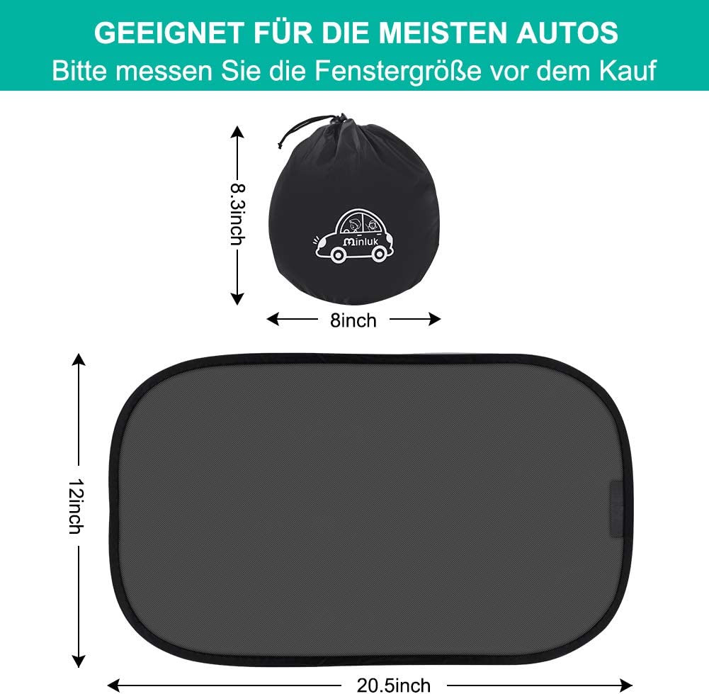 MINLUK Sun Shade Car Baby Sun Visor Children with UV Protection for Rear Windows and Side Windows Suction Cup Storage Bag Universal Suitable for Cars and SUVs Black