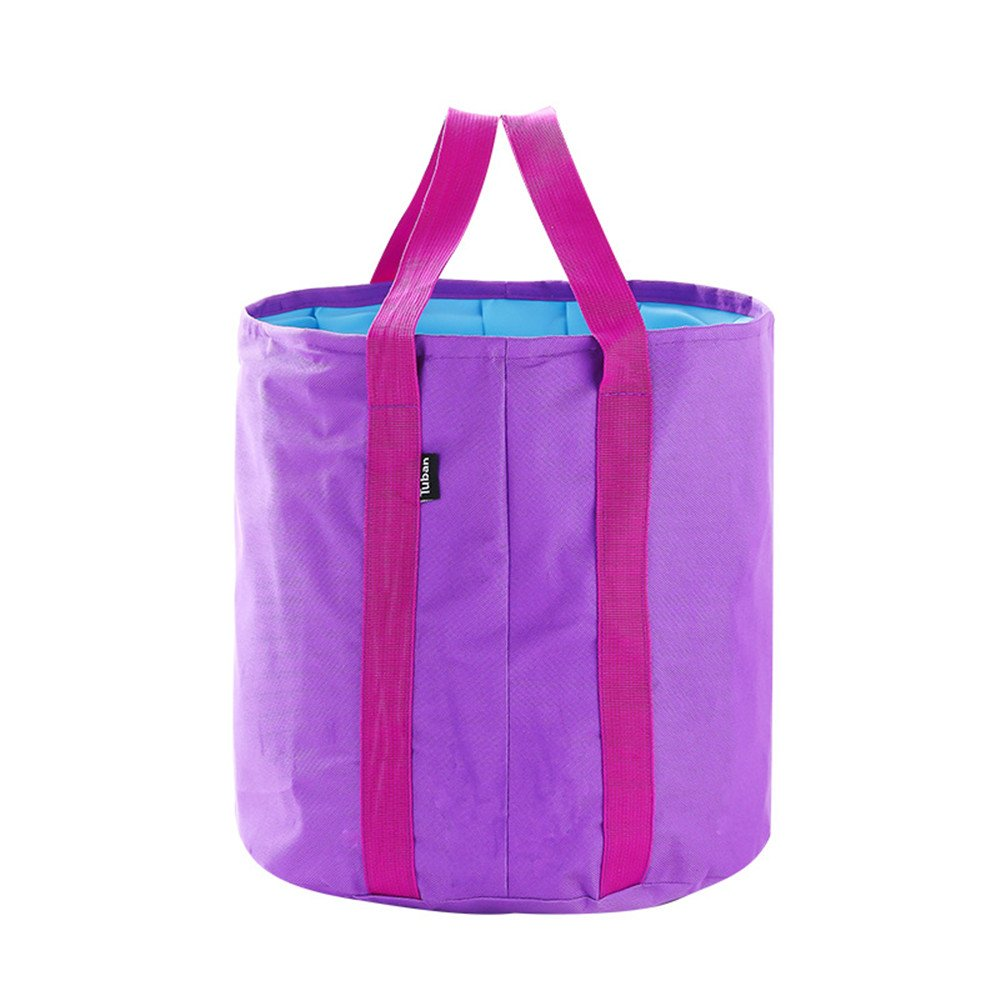 Collapsible Bucket 25L Big Capacity Foldable Pail Portable Water Container Oxford - Lightweight Compact Waterproof - Car Washing Fishing Camping Picnic Hiking Outdoor Travel Beach (purple)