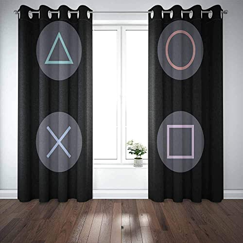 Capsceoll 52X84 Inch 2 Panels Baby Window Curtains,Playstation Icon Game Door Window Curtains Car Window Curtain