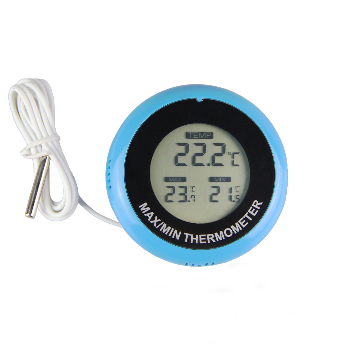 ETHMEAS Mini LCD Indoor Outdoor Digital Thermometer Round Shape with Max/Min Temperature memory function and 1M External Probe for Vehicle, Room, Gardening,Reptile, Pet Keeping