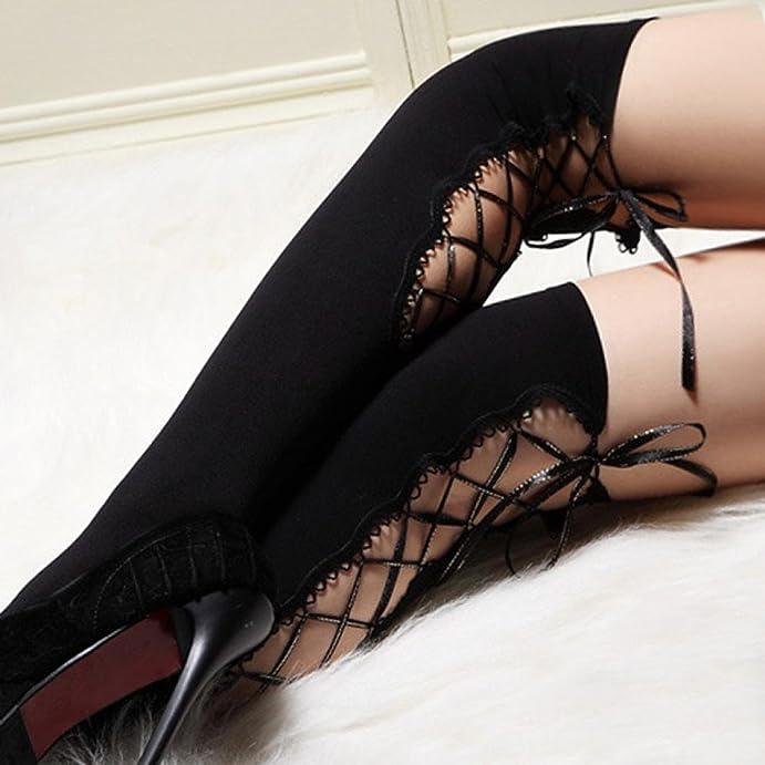 Malloom Sexy Women Bandage Socks Thigh-highs Stockings Pantyhose Nightclub Ba... at Amazon Womens Clothing store: