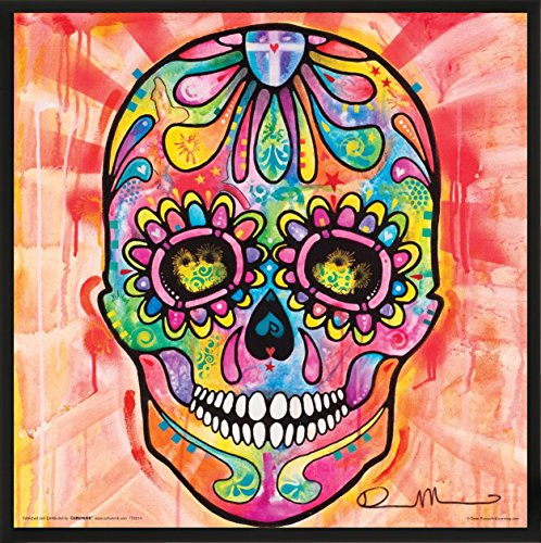 (Culturenik Dean Russo Day of The Dead Mexican Psychedelic Skull Modern Art Decorative Print (Framed 12x12 Poster))