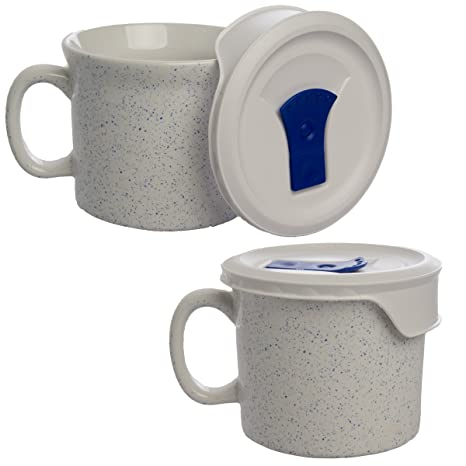 Amazon Com Corningware 2 Pack Ceramic Soup Mug With Vented Lid