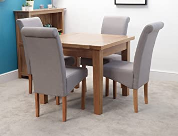 Harts solid oak square dining table set with 4 chair light grey harts solid oak square dining table set with 4 chair light grey highland watchthetrailerfo