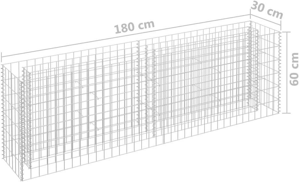 Goliraya Jardini/ère /à Gabion Acier Galvanis/é Solide et Durable 180x30x60 cm Grande Capacit/é de Charge