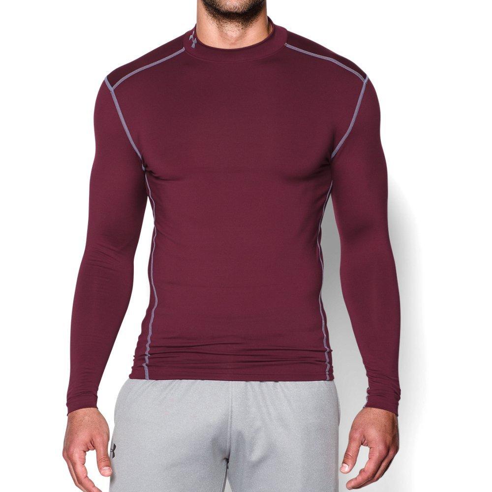 Under Armour Men's ColdGear Armour Compression Mock Long Sleeve Shirt, Maroon /Steel, XXX-Large