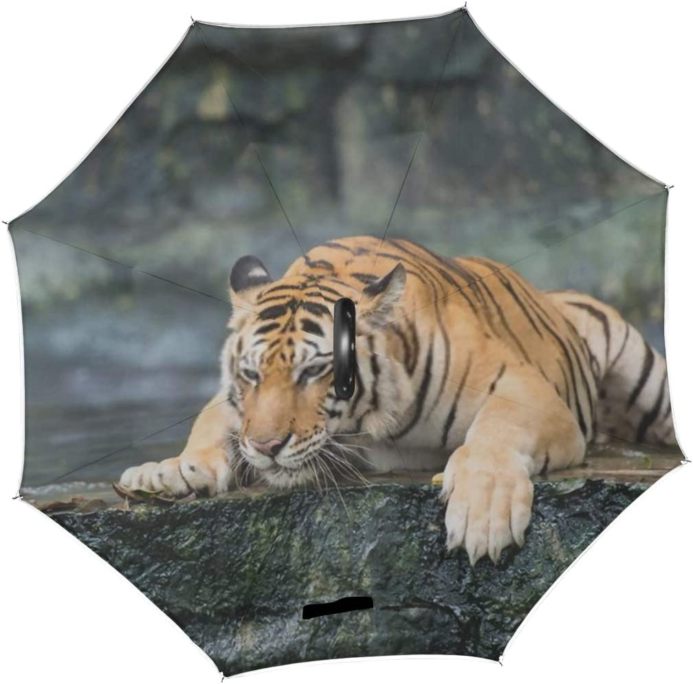 Double Layer Inverted Inverted Umbrella Is Light And Sturdy Bengal Tiger Reverse Umbrella And Windproof Umbrella Edge Night Reflection