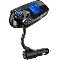 Nulaxy Wireless In-Car Bluetooth FM Transmitter Radio Adapter Car Kit W 1.44 Inch Display Supports TF/SD Card and USB Car Charger for All Smartphones Audio Players