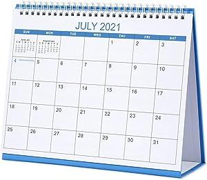 Desk Calendar 2021-2022 - Standing Flip Desktop Calendar, 18 Months from Jul 2021 to Dec 2022, Memoranda Lined Pages with Thick Paper, 10