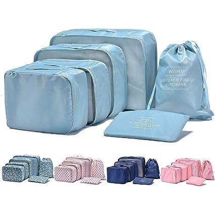 Arxus 6 Set Cubos de embalaje Viaje Organizadores a prueba de agua Bolsa de lavandería Bolsas de compresión de equipaje (Azul claro)