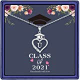 M MOOHAM Graduation Gifts for Her 2021, 14K White Gold Plated CZ Graduation Cap Necklaces Heart Pendant Initial Necklaces for