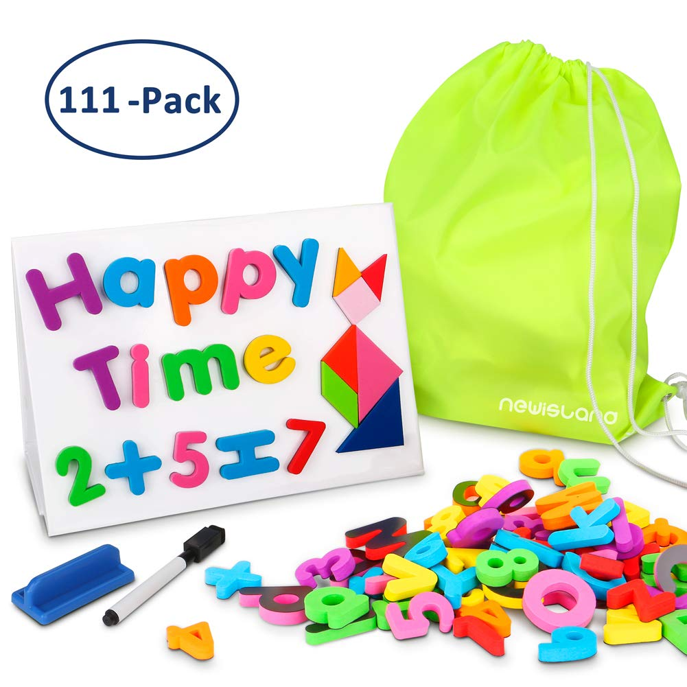 Newisland Magnetic Letters Numbers, Fridge Board and Reusable Storage Bag for Kids Gift Set, 111 PCS