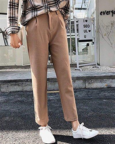 Solidi Donna Pantaloni Estivi Allentato Per Pantaloni Eleganti High Slim Pantaloni Kaki Colori Grazioso BIRAN Fashion Primaverile Dritti Pantaloni Donna Tempo Libero Waist wSIqppF