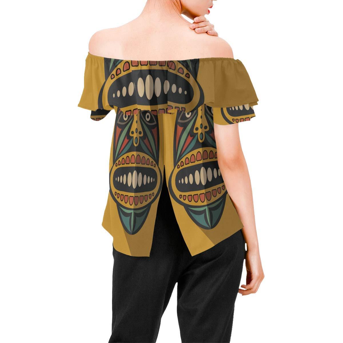 African Art Tribal Print Womens A-Line Chiffon Blouse Shirt Tops