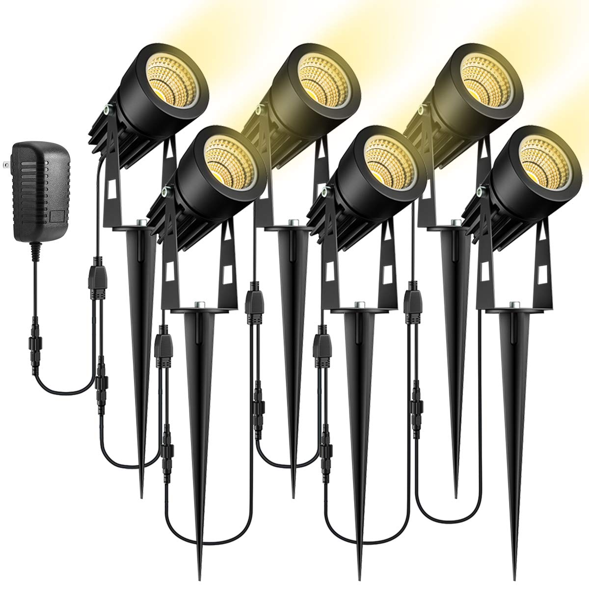 ALOVECO Landscape Lighting, 12V LED Low Voltage Landscape Lights Plug in Waterproof Outdoor Spotlight, Warm White Garden Lights for Patio Walls Trees Pathway Swimming Pool (6 Pack)