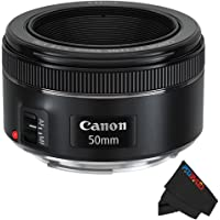 Canon EF 50mm f/1.8 STM Lens + Pixibytes Exclusive Microfiber Cleaning Cloth