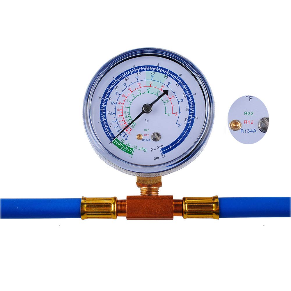 R134a Charging Hose to Refrigerator, Can Tap with Gauge - R-134a can to  R-12/R-22 port