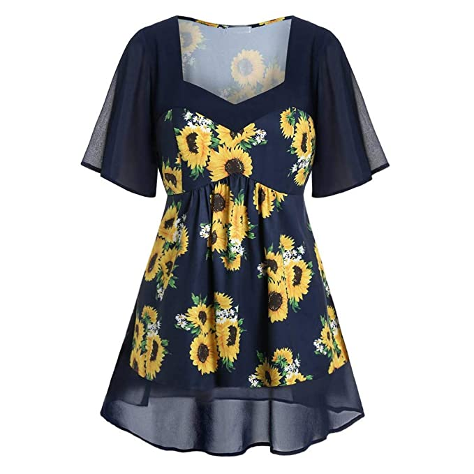 Blouses for Women, Plus Size Fashion Women Sunflower Printed V-Neck Short  Sleeve Tops Casual Blouse Shirts