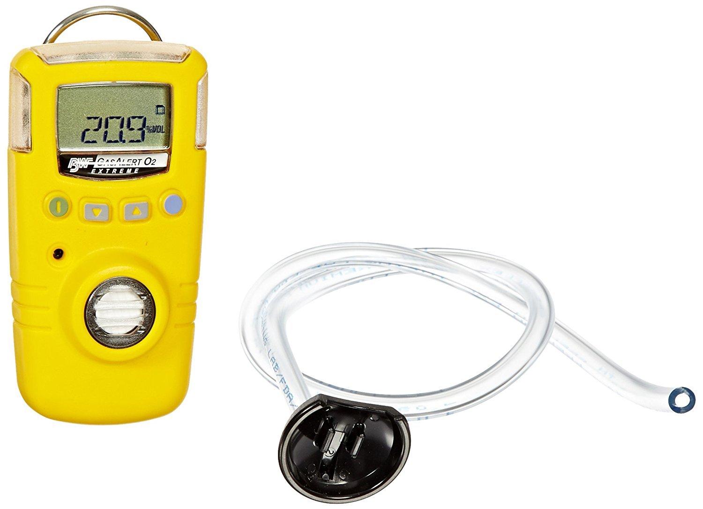 BW Technologies GAXT-X-DL-2 GasAlert Extreme Oxygen (O2) Single Gas Detector, 0-30.0 Percent Measuring Range, Yellow