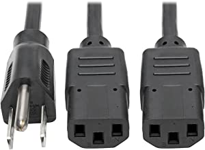 Tripp Lite Standard Power Cord Y Splitter Cable (NEMA 5-15P to 2x IEC-320-C13) 6-ft.(P006-006-2)