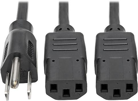 6FT NEMA 5-15 PC Power Y Splitter Cord For TV Monitor Printer PC Set Top Box