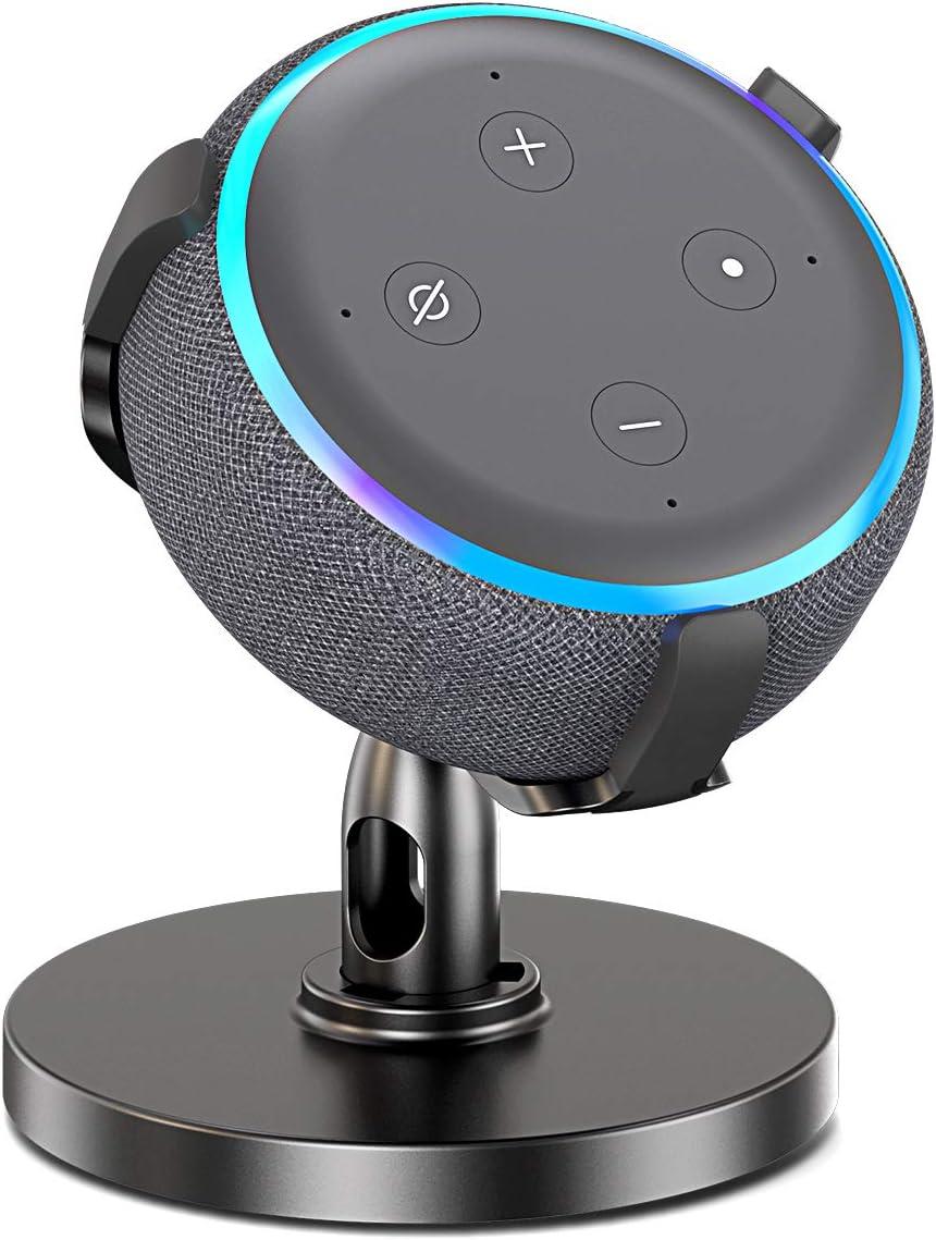 Bovon Mesa Soporte para Echo Dot (3.ª generación), Soporte Dot 3 Ajustable de 360 ° para Altavoces de Smart Home, Dot Accesorios, Mejora la Visibilidad y Apariencia del Sonido (Negro)