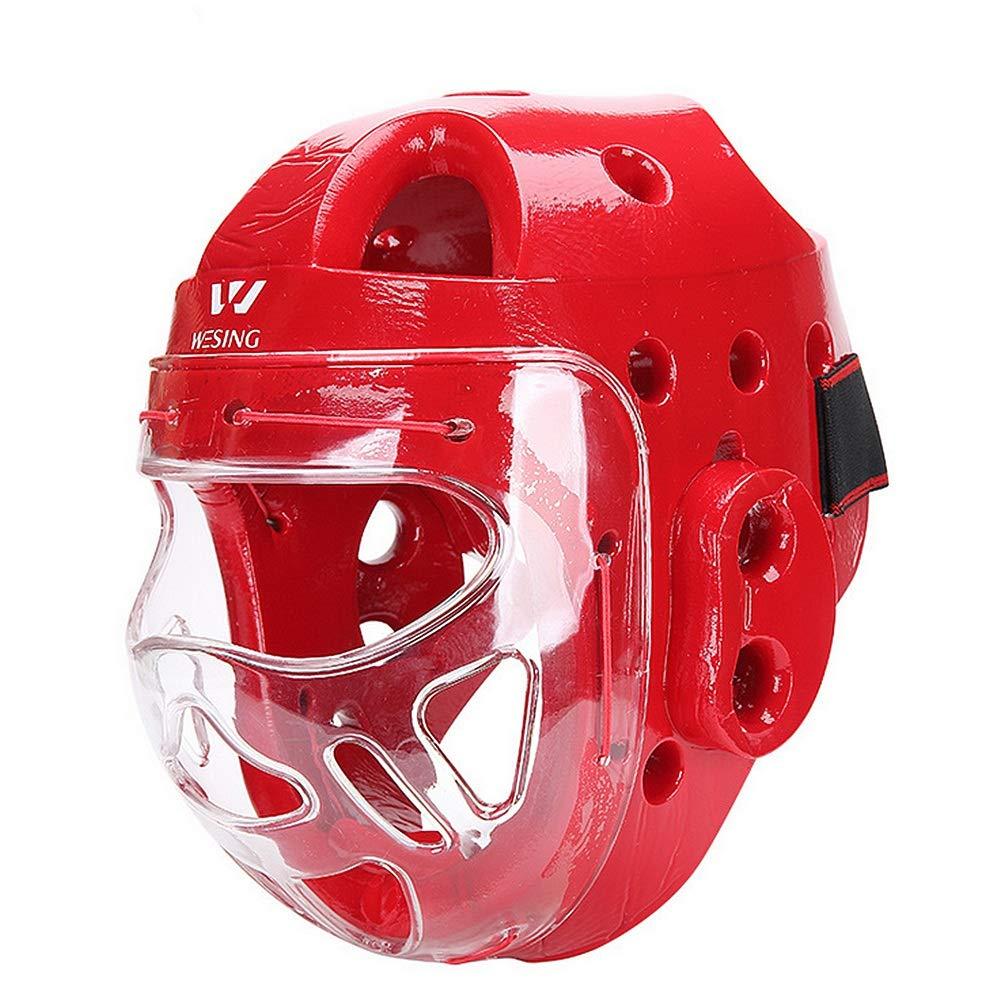 ボクシングヘルメット プロフェッショナルボクシングMMAキックボクシングヘッドギアボクシングヘルメットヘッドガードスパアリングムエタイキックブレースヘッド保護フェイスシールド スパーリング (色 : 赤, サイズ : S) 赤 Small