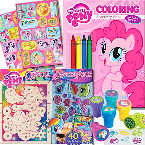 My Little Pony Coloring Book with Crystal Masterpiece Set - 32-page Coloring Book, My Little Pony Stickers, Crayons and Stampers