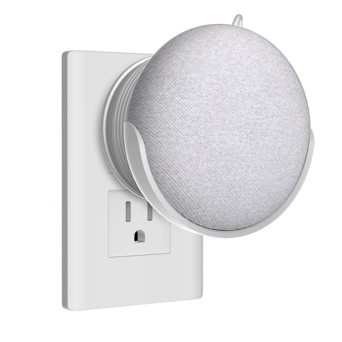 Home HOD supporto da parete Staffa per Mini casa Google Voice assistants, Wall Mount/direttamente aufgehaengt spina in cucina bagno camera da letto, nascosto la Google Home Mini cavo (bianco) Pgone