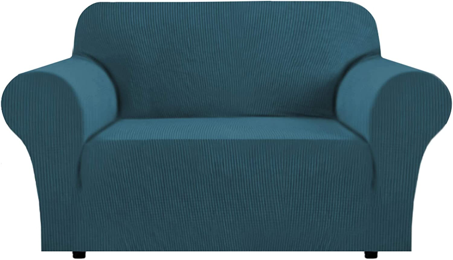 1 Piece Furniture Cover for Loveseat Loveseat Slipcovers for 2 Cushions Sofa Rich Textured High Spandex Checked Pattern Loveseat Covers for Living Room, 2 Seater, Deep Teal