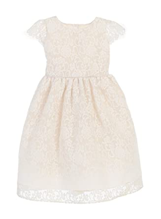 5c476a9c4f77 Sweet Kids Classic Floral Embroidered Organza Flower Girl Dress, 2,  Champagne