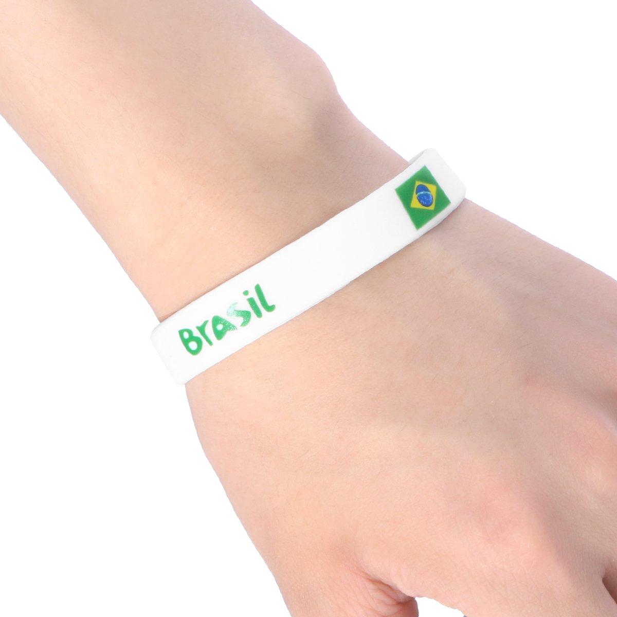 LUOEM 6Pcs Bracciali con bandiera Nigeria Braccialetto in silicone Braccialetto Nazione Coppa del mondo di calcio FIFA world cup 2018 Nigeria