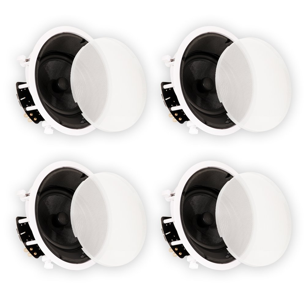 Theater Solutions New 8'' In Ceiling HD Home Theater Glass Fiber Angled 4 Speaker Set 1600 Watt 4TSS8A