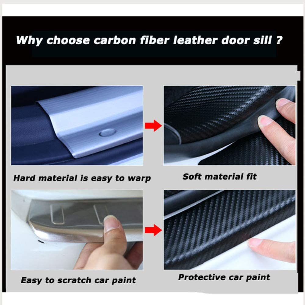 Plaque///de/Protection/de seuil de Porte en Cuir/PU en/Fibre de Carbone/4PC pour Nissan Navara Dmwfaker Voiture Plaque de Porte Couvre seuil de Porte Autocollant