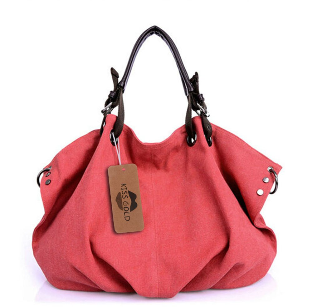 KISS GOLD(TM) European Style Canvas Large Tote Top Handle Bag Shopping Hobo Shoulder Bag, Size 22 '' X6.3'' X 14.2 ''(Red)
