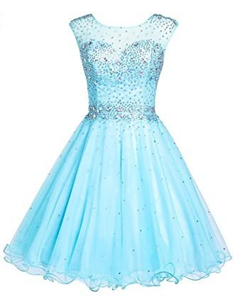 KA Beauty Womens Sleeveless Crystal Beading Mini Prom Dresses Blue UK6
