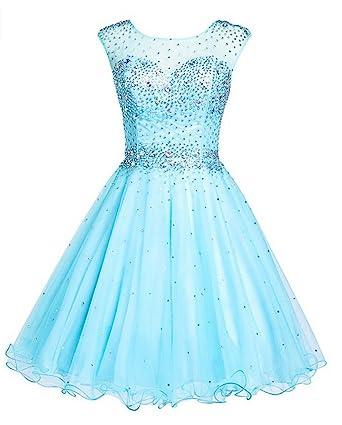KA Beauty Womens Sleeveless Crystal Beading Mini Prom Dresses: Amazon.co.uk: Clothing