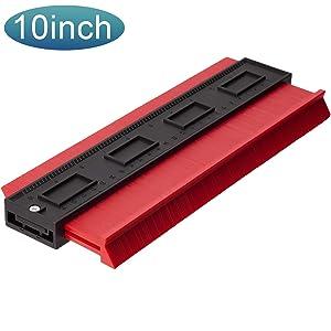 LUTER Plastic Contour Gauge, 10 Inch Profile Gauge Measure Ruler Contour Duplicator for Precise Measurement Tiling Laminate Wood Marking Tool (Red)