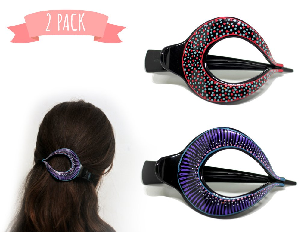 2 Pcs hand crafted Hair Grip. Home Hair Styling for Women & Girls Made Easy. This Attractive Hair Accessory can be use as a bun maker or a hair clip. For thick and thin hair. Uniquely Hand Painted