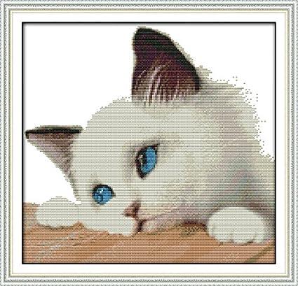 Amazon Com Zamtac Animal Style Blue Cat Counted Cross