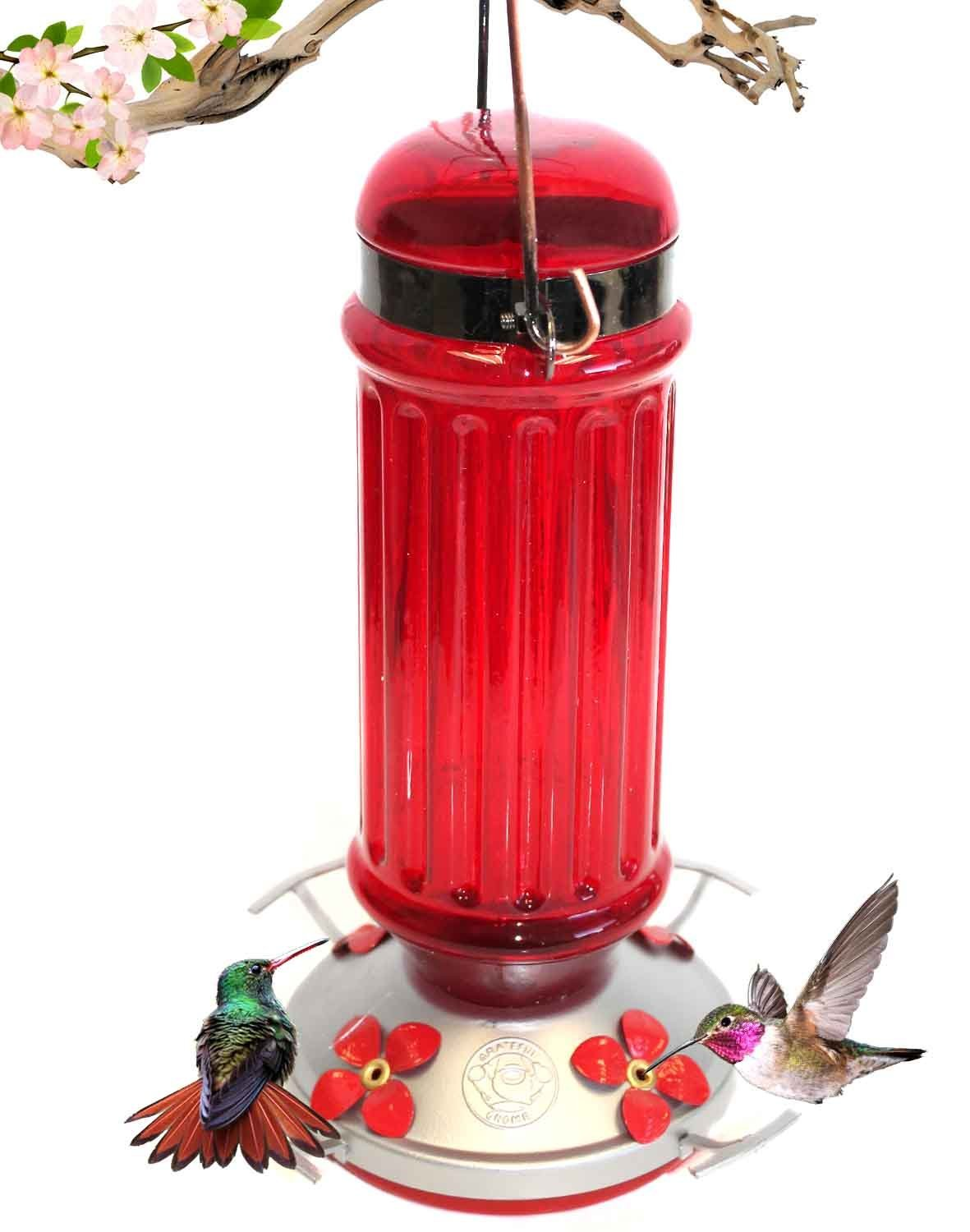 Grateful Gnome - Hummingbird Feeder - Red Glass Bottle with Metal Clamp Hanger - 28 Fluid Ounces
