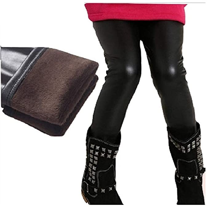 d791dee4f66070 Amazon.com: Fleece Lined Black Faux Leather Leggings from Chunks of ...