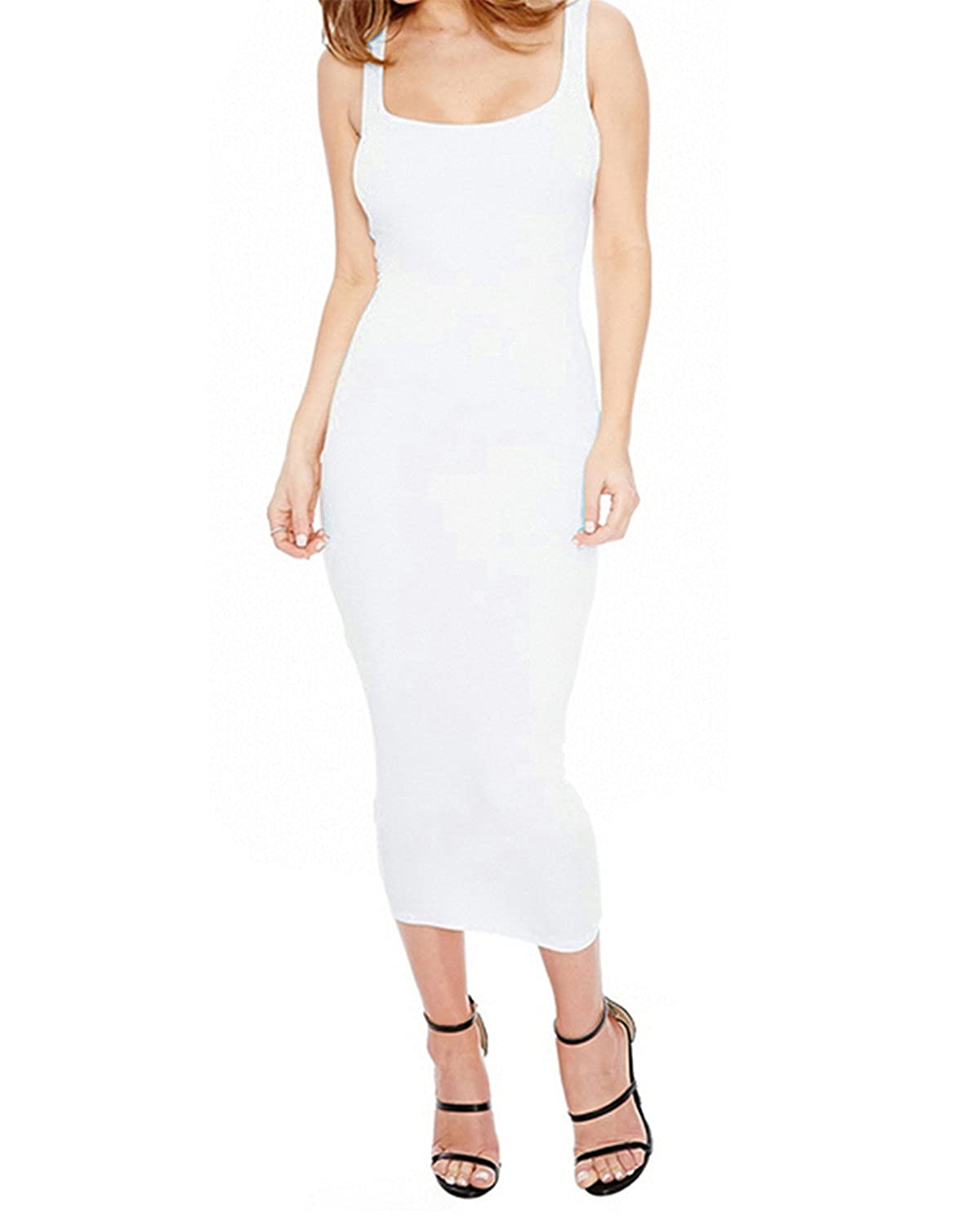 0a2a2fc703f1 GAMISS Women Sleeveless Scoop Neck Bodycon Casual Tank Dress Slim Fit Midi  Dress (White 1, L) at Amazon Women's Clothing store: