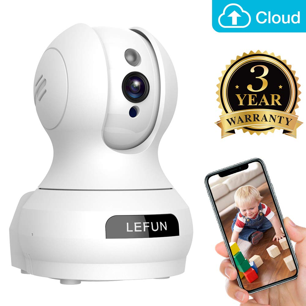 Baby Monitor, Lefun Wireless IP Security Camera WiFi Surveillance Pet Camera with Cloud Storage Two Way Audio Remote Viewing Pan/Tilt/Zoom Night Vision Motion Detect for Home/Shop/Office by Lefun