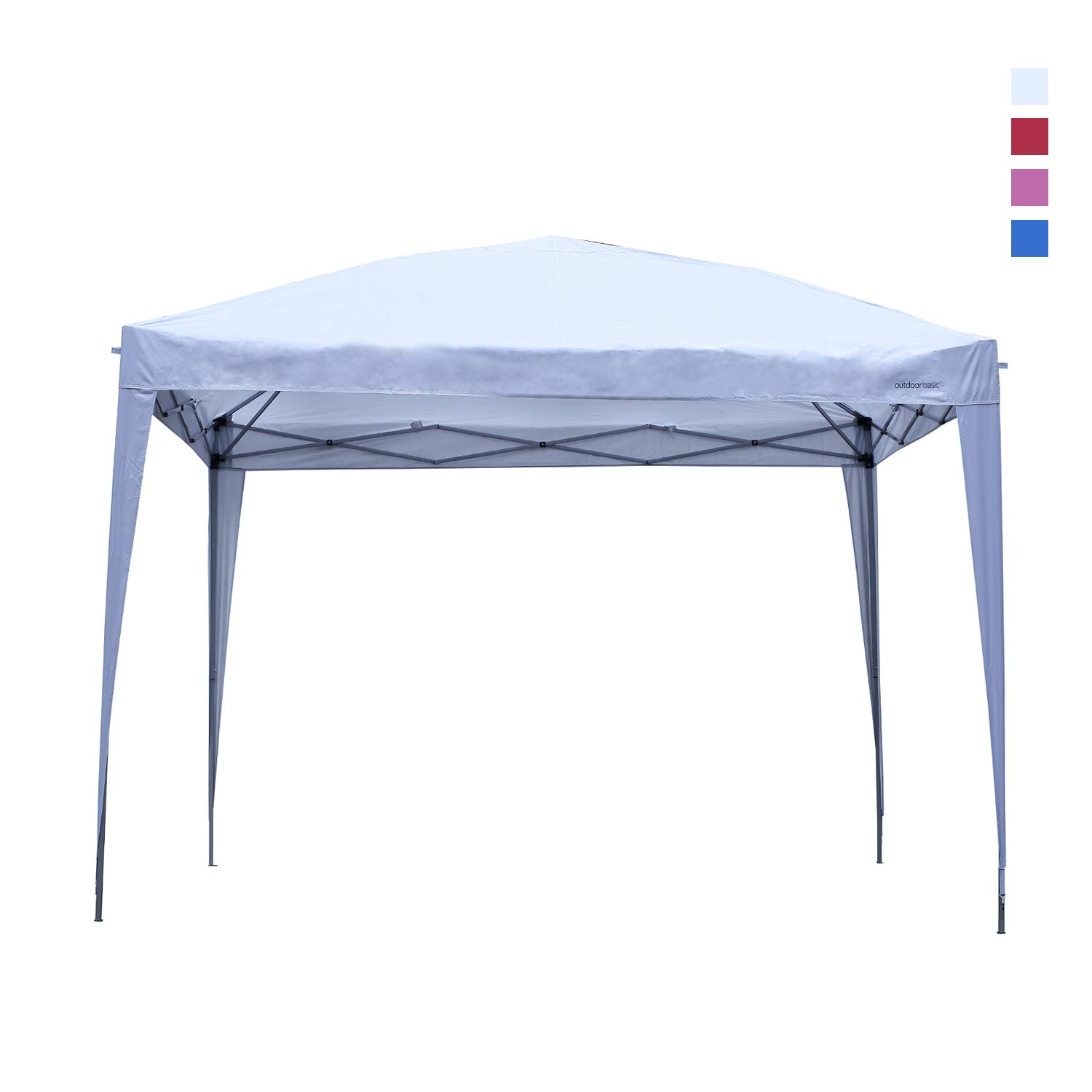 Leisurelife Waterproof 10'x10' Pop Up Wedding Tent with Side-Outdoor Folding Commercial Gazebo Canpy Tent White