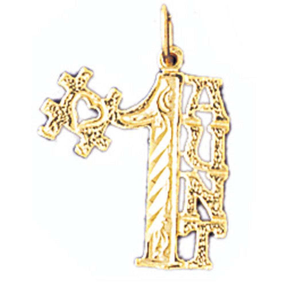 21 mm Jewels Obsession #1 Aunt Pendant 14K Yellow Gold #1 Aunt Pendant