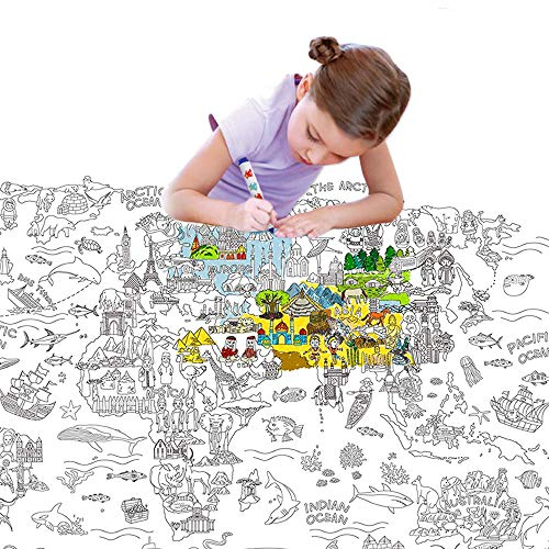 "Jar Melo Giant Coloring Poster for Kids;World Map Jumbo Coloring Poster Wall ; 45.3"" x 31.5""; Doodle Art Coloring; Drawing Fun-Super Painter, for Kids"