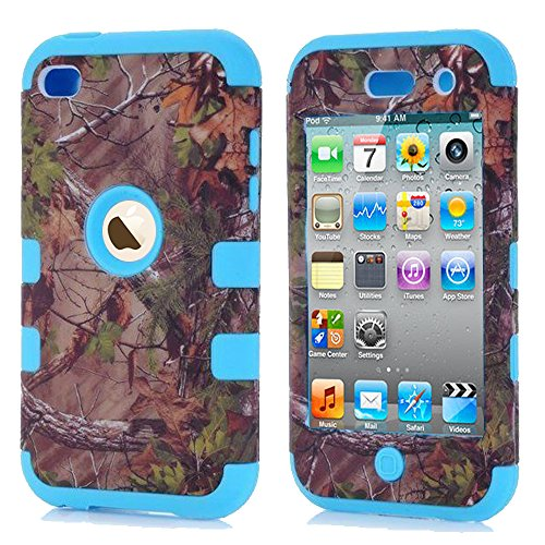 For ipod 4 Camo Cases, Kecko(TM) Dual Layer Defender Tough Armor Realtree Camouflage Hunting Tree Shockproof High Impact Hybrid Silicon Hard Suitable Fit Case Cover for Girls & Boys For ipod Touch 4 4th Only--Forest/Tree/Leaves on the Core (Light Blue) (Hard Ipod 4 Cases For Girls)