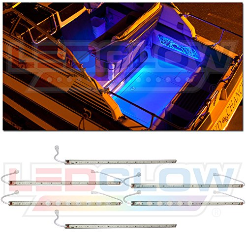 LEDGlow 6pc Blue LED Boat Deck and Cabin Lighting Kit - 216 LEDs - Waterproof Connectors and Light Tubes