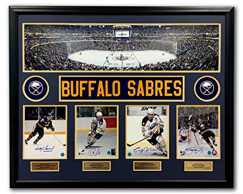 Buffalo Sabres Perreault Housley Lafontaine Eichel Signed Panoramic 44x35 Frame - Autographed NHL Photos (Signed Photo Sabres Buffalo Nhl)